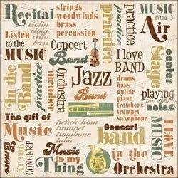 Karen foster design - Muziek collage woorden scrapbook papier 30.5 x 30.5 cm