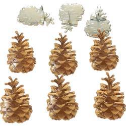 Dennenappels /Pine cones -  splitpen decoratie - zakje 12 stuks