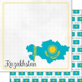 Kazakhstan - Adventure Border - dubbelzijdig scrapbook papier