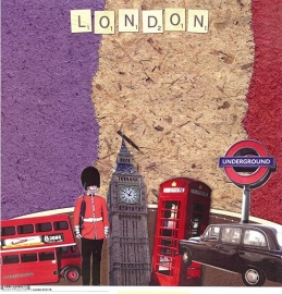 London - 12 x 12 Paper - London - Scrapbook Customs - World Collection