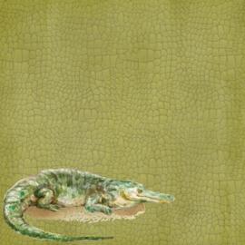 Crocodile / krokodil -  watercolor - 30.5x30.5 cm - dubbelzijdig scrapbookpapier