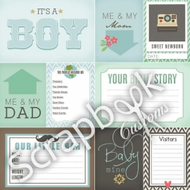 New born boy - scrapbookpapier - 30.5 x 30.5 cm