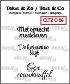 Crealies Tekst & Zo clear stamp - Overlijden 06 (NL)