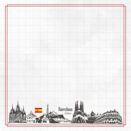 Barcelona Adventure  - dubbelzijdig scrapbook papier