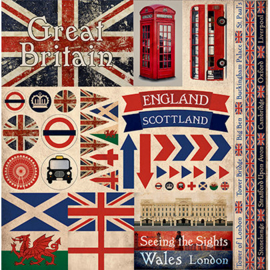Great Britain - scrapbook stickers 30,5x30,5 cm