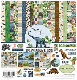 scrapbook papier set dinosaurs 12 x 12 inch 19 delig + 6 delig  gekleurd karton pakket