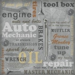 Auto Sleutelen Woorden papier 30.5 x 30.5 cm