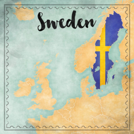 Sweden Map Sights- dubbelzijdig scrapbook papier