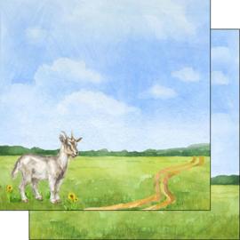 Geit / Goat -  watercolor - 30.5x30.5 cm - scrapbookpapier