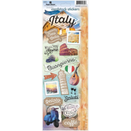 Paper House productions 19 scrapbook stickers Italie thema op handig verzamelvel 33 x 12 centimeter