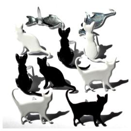 Katten in silhouette  12 stuks thema splitpennen