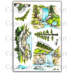 WaterFalls - clear stamps - 15 x20 cm
