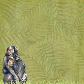 Primates / chimpansees - watercolor - 30.5x30.5 cm - dubbelzijdig scrapbookpapier
