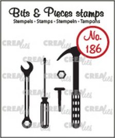 Crealies Clearstamp Bits en Pieces - no.186 Tools - 3-4,5 cm