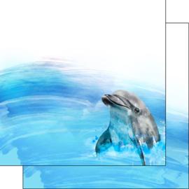 Dolfijn - 30.5x30.5 cm - dubbelzijdig scrapbookpapier