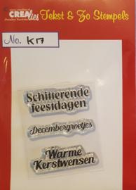Crealies Tekst & Zo clear stamp - Kerst 17 (NL)