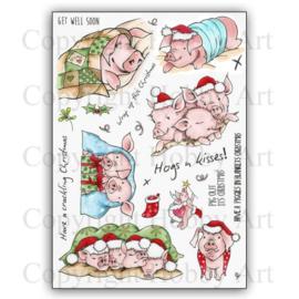 Hobby Art clear stempels - Pigs in Blankets - 15 x 20 centimeter