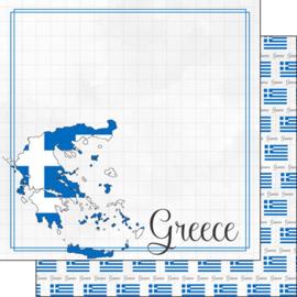 Greece Adventure border - dubbelzijdig scrapbook papier