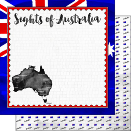 Australië - Flag Sights/postzegel rand - 12 x 12 inch