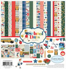 """School Days schoolfoto scrapbook pakket met set gekleurd karton 12x12"""" (19-delig)"""