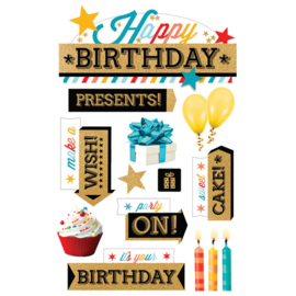 Stickers voor scrapbooking 3D Happy Birthday