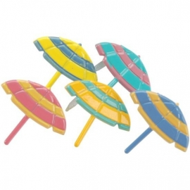 Parasols 5 kleuren thema splitpennen 12 stuks