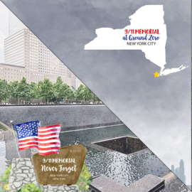 New York City Ground Zero 9/11 Memorial papier - 30.5 x 30.5 cm