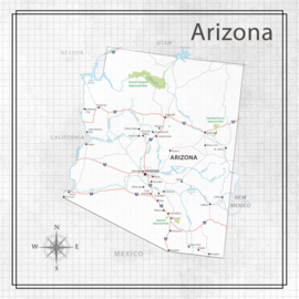 Arizona - Adventure Map - 12x12 scrapbookpapier