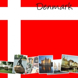 Denemarken - Vlag met foto's - 12 x 12 Paper - World Collection