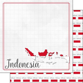 Indonesia - Adventure border - dubbelzijdig scrapbooking papier - 12 x 12 inch