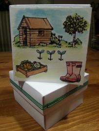Wit papieren decoratie doosje vierkant met deksel