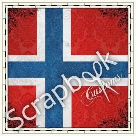 Noorse vlag - 30.5 x 30.5 cm scrapbookpapier