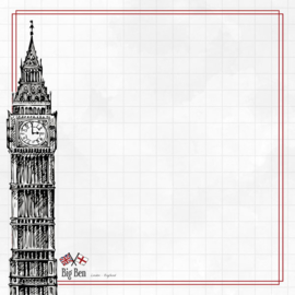 Big Ben Adventure  - dubbelzijdig scrapbook papier