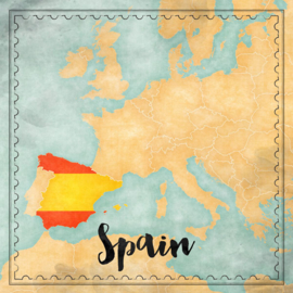 Spain Map Sights- scrapbook papier