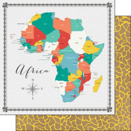 Africa - Memories Map papier - 30.5x30.5 cm