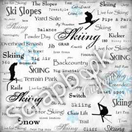 Live for Skiing  scrapbook papier 30.5 x 30.5 centimeter