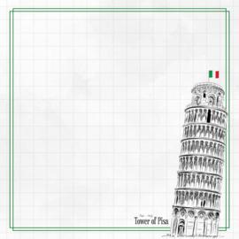 Tower of Pisa Adventure  - dubbelzijdig scrapbook papier