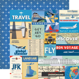 13-delige scrapbook pakket All Aboard Passport  12x12 inch inclusief stickers