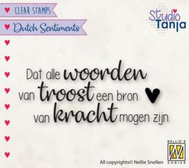 NL tekst Clear stempel: Dat alle woorden van troost....... - 60 x 25 mm