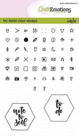 bullet journal stempels  met diverse icoontjes (icon stamps)