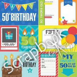 50 Birthday - scrapbookpapier 30.5 x 30.5 cm