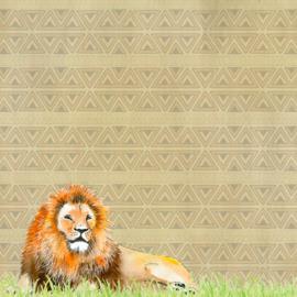 Lion / leeuw - watercolor - 30.5x30.5 cm - dubbelzijdig scrapbookpapier