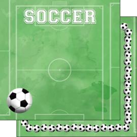 Soccer - voetbal - dubbelzijdig scrapbook papier 30.5 x 30.5 centimeter