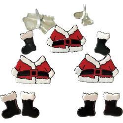 Accessoires voor scrapbooking santa suits and boots splitpen decoratie zakje 12 stuks