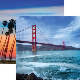 California Golden Gate / kust met palmbomen - dubbelzijdig papier 30.5 x 30.5 cm