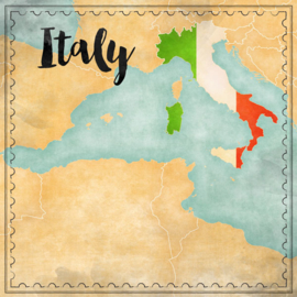 Italy Map Sights- scrapbook papier