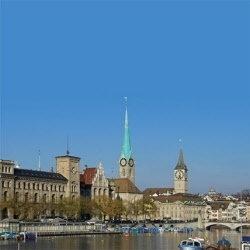 Zwitserland Zurich Meer met 2 Kerken scrapbook papier