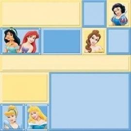 Sprookjes prinsessen papier 30.5 x 30.5 cm geel blauwe kleuren