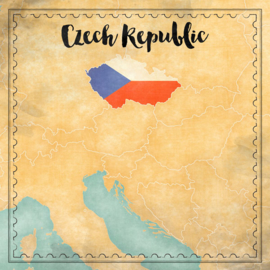 Czech Republic Map Sights - 12 x 12 - Scrapbook Paper