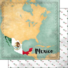 Mexico Map Sights- scrapbook papier